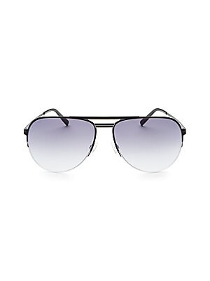 Image of Bold aviator sunglasses with flat lenses and metal tips 15mm bridge width, 63mm lens width,145mm temple length 100% UV protection Adjustable nose pad Metal Imported. Men Accessories - Men Sunglasses. Barton Perreira. Color: Blue.