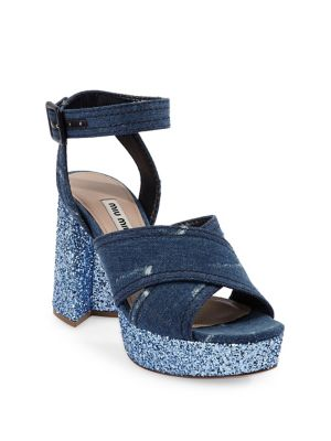 Crisscross Denim Platform Sandals, Blue Astro