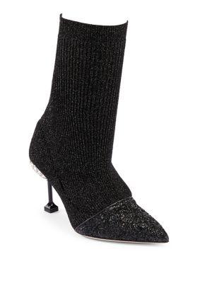 Embellished-Heel Rib-Knit Ankle Boots, Black