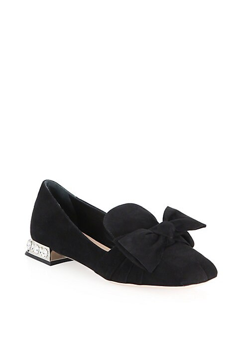 Image of .Patent leather smoking flats with front bow accent. Suede upper. Square toe. Slip-on style. Leather sole. Made in Italy.