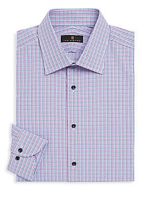 "Image of Classic check print elevates shirt to dapper style Spread collar Long sleeves Button cuffs Button front About 29"" from shoulder to hem Cotton Machine wash Made in Italy. Men Luxury Coll - Designer Dress Shirts. Ike Behar. Color: Blue Red. Size: 16.5."