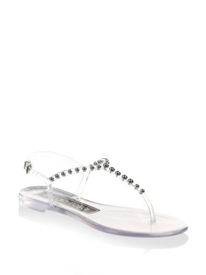 c8d035dd7814 Sergio Rossi Studded Pvc Thong Sandals - Nudeflesh Size 6 ...