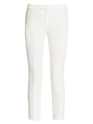 "Image of Slim pintuck pants in cropped silhouette Banded waist Zip fly with concealed closure Back welt pockets Rise, about 11"" Inseam, about 24"" Viscose/acetate/elastane Dry clean Made in USA Model shown is 5'10"" (177cm) wearing US size 4. Designer Lifest - Desig"