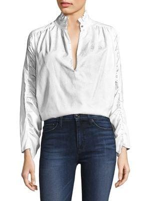 PETERSYN Elizabeth Patterned Blouse in White