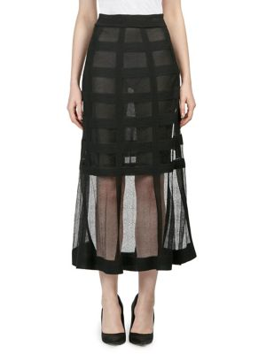 "Image of Long skirt layered with sheer grid overlay. Elasticized waist. Lined. About 37"" from shoulder to hem. Silk. Combo: Silk/polyester. Dry clean. Made in Italy. Model shown is 5'10"" (177cm) wearing US size Small."