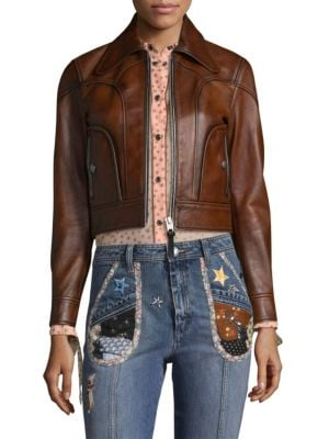 Landscape Leather Jacket, Brown from COACH