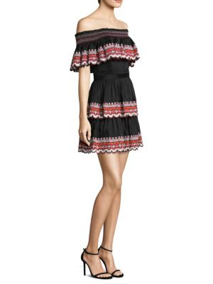 """Image of .Tiered and ruffled dress crafted in linen-blend fabric. Off-the-shoulder. Short sleeves. Tiered embroidered ruffled top. Tiered embroidered ruffled skirt. Pullover style. Lined. About 33.5"""" from shoulder to hem. Linen/silk. Dry clean. Imported. Model sho"""