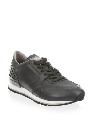 Image of Enjoy sport activity with these breathable leather sneakers. Leather upper. Round toe. Lace-up vamp. Leather lining. Rubber sole. Made in Italy.