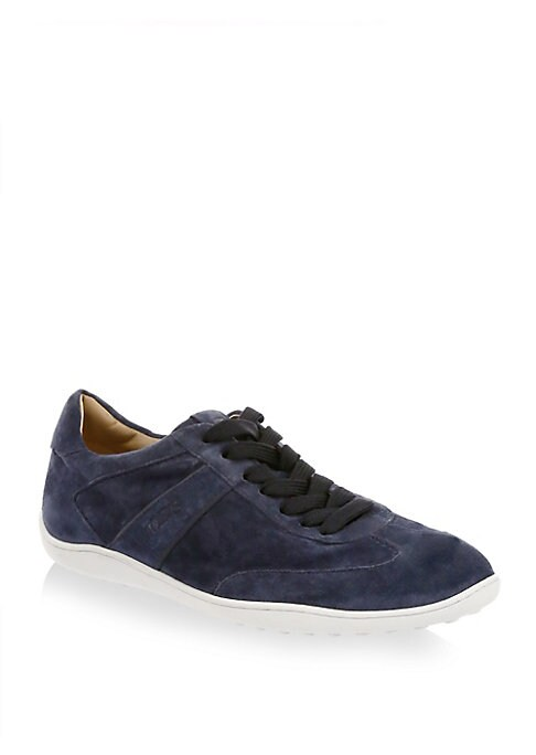 Image of Show your fashion style with these suede low-top sneakers. Suede upper. Round toe. Lace-up vamp. Suede lining. Rubber sole. Made in Italy.