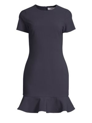 LIKELY Beckett Ruffle-Hem Bodycon Dress in Navy