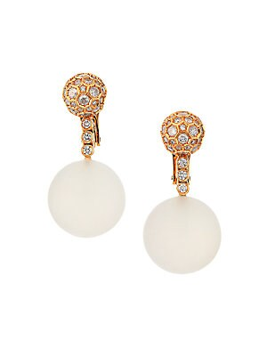 """Image of From the Boule Collection. Luminous rock crystal anchors rosy gold drop earrings studded with diamonds. Rock crystal, 69.0 tcw White icy diamond, 1.65 tcw White diamond, 0.40 tcw 18K pink gold Omega back Made in Italy SIZE Drop, about 1.25"""". Fine Jewelry"""
