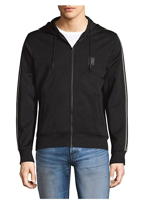 """Image of Soft cotton-blend sweater with athletic arm stripes. Attached drawstring hood. Long sleeves. Exposed front zip. Rib-knit vcuffs and he. Side zip pockets. About 24"""" from shoulder to hem. Cotton/polyester. Machine wash. Imported."""