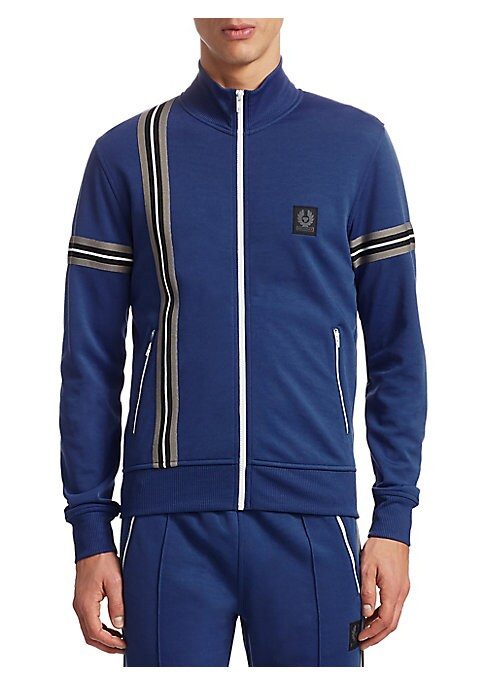 """Image of Soft cotton-blend sweater with athletic arm stripes. Attached drawstring hood. Long sleeves. Exposed front zip. Rib-knit cuffs and hem. Side zip pockets. About 26"""" from shoulder to hem. Cotton/polyester. Machine wash. Imported."""