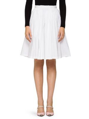 Scalloped Cotton Poplin Full Skirt, White