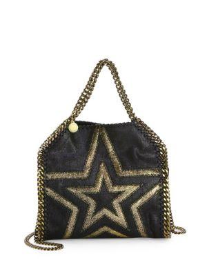 4372c2469125 Stella Mccartney Shaggy Gradient Star Mini Falabella Tote Bag In Black Gold
