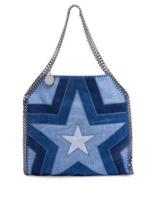 Stella Mccartney Stars Denim Shoulder Bag In Neon Blue  ebd154eaed18e