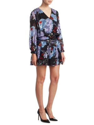 """Image of Drop waist dress in colorful floral print.V-neck. Long sleeves. Back zip closure. About 36"""" from shoulder to hem. Silk/viscose. Dry clean. Imported. Model shown is 5'10"""" (177cm) and wearing US size 4."""