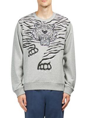 KENZO Big Tiger Print & Embroidered Sweatshirt, Dove Grey
