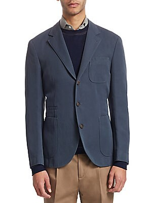 """Image of From the Saks IT LIST THE JACKET The wear everywhere layer that instantly dresses you up. Opulent wool suit jacket in button-front design Notch lapel Long sleeves Front patch pockets Front welt pocket Button-front About 27"""" from shoulder to hem Wool Dry c"""