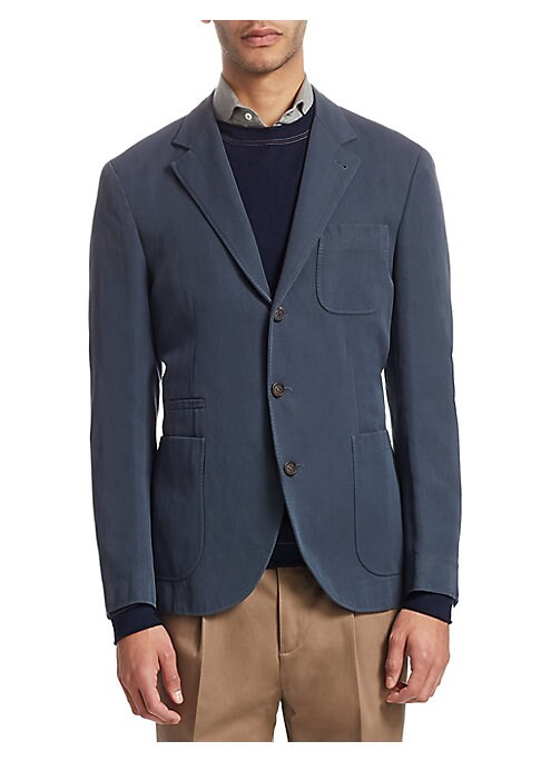 "Image of From the Saks IT LIST. THE JACKET. The wear everywhere layer that instantly dresses you up. Opulent wool suit jacket in button-front design. Notch lapel. Long sleeves. Front patch pockets. Front welt pocket. Button-front. About 27"" from shoulder to hem. W"