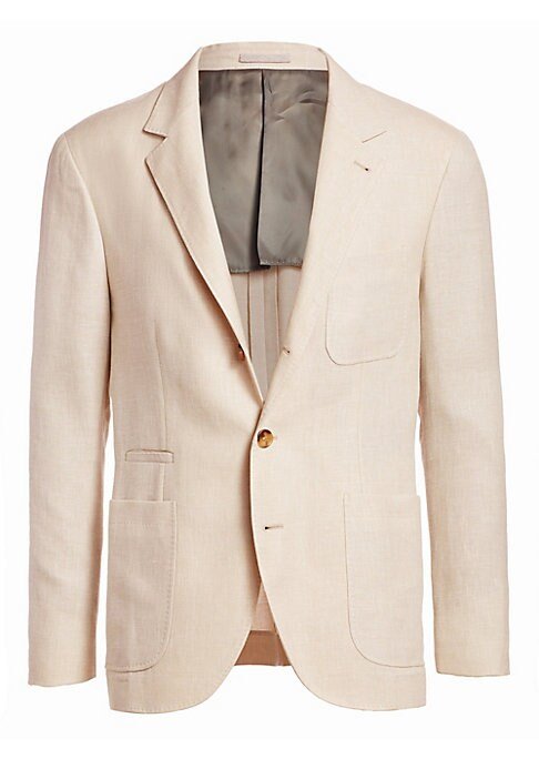 "Image of From the Saks IT LIST. THE JACKET. The wear everywhere layer that instantly dresses you up. Wool suit jacket in classic button-front style. Notch lapel. Long sleeves. Front patch pockets. Front welt pocket. Button-front. About 30"" from shoulder to hem. Wo"