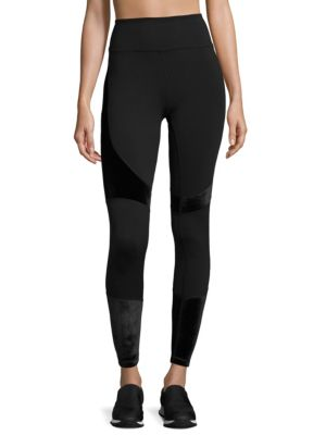"Image of Leggings in high waisted silhouette. Elasticized waist. Pull-on style. Rise, about 10"".Inseam, about 27"".Polyester/spandex. Machine wash. Imported. Model shown is 5'10"" (177cm) and wearing US size Small."