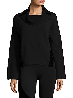 """Image of Contrast panels adorn classic sweatshirt Cowlneck layer over boatneck Long kimono sleeves Frayed hem Exposed seams Pullover style About 23 from shoulder to hem Cotton/bamboo rayon Machine wash Made in Canada of imported fabric Model is 5'10"""" (177cm) weari"""