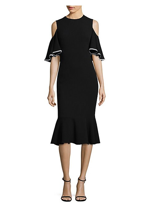 "Image of Cold shoulder dress with contrast scalloped trim. Roundneck. Cold-shoulders. Short sleeves. Concealed back zip. About 35"" from shoulder to hem. Acetate/polyethylene. Dry clean. Made in USA. Model shown is 5'10"" (177cm) wearing US size 4."