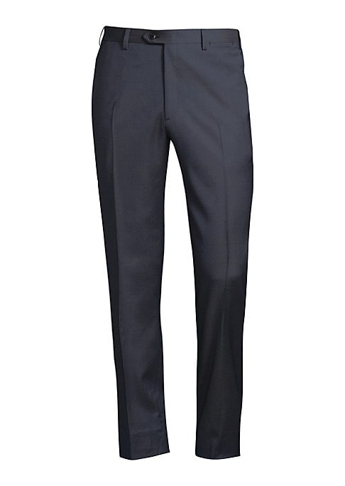 "Image of Essential trousers tailored from wool fabric. Belt loops. Zip fly with button closure. Side slip pockets. Back buttoned welt pockets. Regular-fit. Rise, about 10"".Inseam, about 34"".Leg opening, about 16"".Wool. Dry clean. Made in Italy."