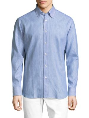 Image of Regular-Fit Stripe Cotton Button-Down Shirt