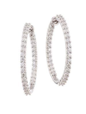 Hearts On Fire Hof Classics 18k White Gold Round Diamond Inside Out Hoop Earrings
