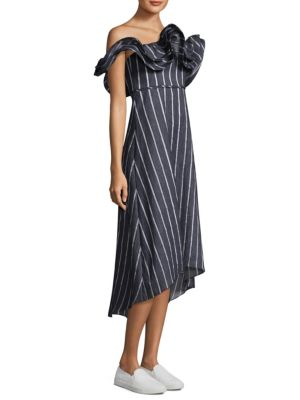 PROSE & POETRY Mirabelle Ruffled Off-The-Shoulder Striped A-Line Dress in Blue