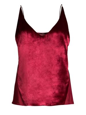 Lucy Velvet And Silk-Georgette Camisole in Red