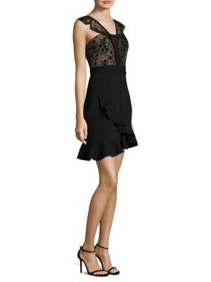 THREE FLOOR Fiction Fit-&-Flare Dress in Black