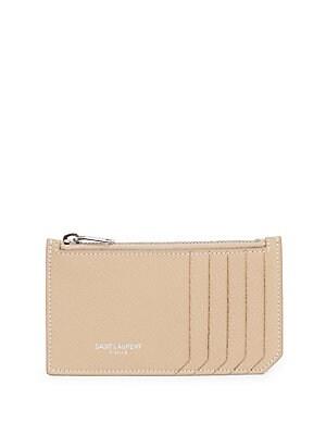 171de93b2b Saint Laurent - Zip Fragment Contrast Stitch Leather Card Case ...