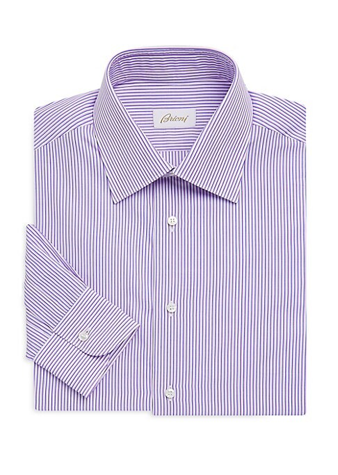 """Image of Classic cotton dress shirt enduring contrast stripes. Spread collar. Long sleeves. Buttoned barrel cuffs. Button front. Shirttail hem. About 29"""" from shoulder to hem. Cotton. Machine wash. Made in Italy."""