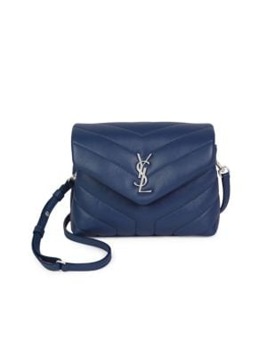 Loulou Monogram Mini V-Flap Calf Leather Crossbody Bag - Nickel Oxide Hardware, Denim Blue