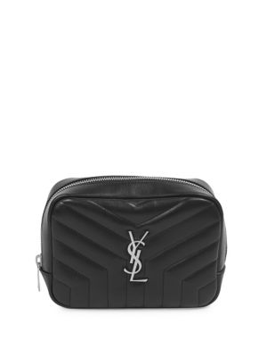 Loulou Monogram Ysl Square Quilted Leather Cosmetics Case in Black