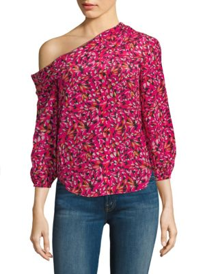 "Image of Brilliant asymmetrical top in vivid printed silk. Asymmetrical neckline. Three-quarter length sleeves. Elasticized cuffs. Pullover style. Shirttail hem. About 24"" from shoulder to hem. Silk. Dry clean. Imported. Model shown is 5'10"" (177cm) wearing US siz"