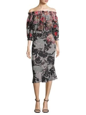 "Image of Silk crepe dress with allover print. Off-shoulder neckline. Three-quarter sleeves. Back keyhole with concealed zip closure. Elasticized cuffs. About 44"" from shoulder to hem. Silk. Dry clean. Imported. Model shown is 5'10"" (177cm) wearing US size 4."