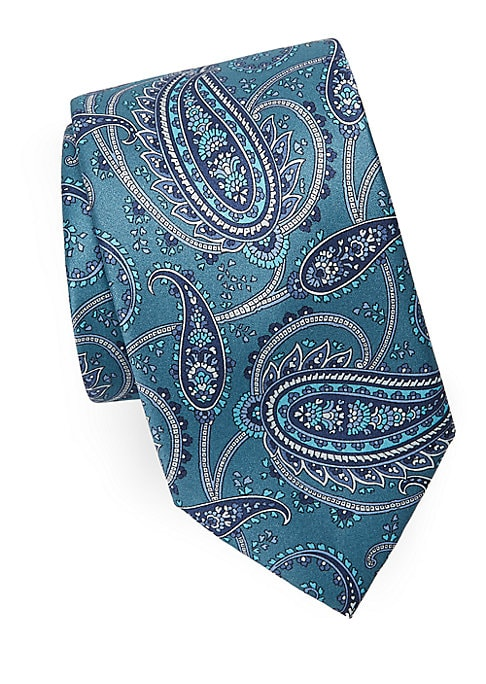 "Image of Luminous silk tie detailed in floral paisley print.3"" wide. Silk. Dry clean. Made in Italy."
