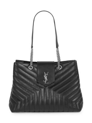 Loulou Monogram Ysl Large Quilted Shoulder Tote Bag - Nickel Oxide Hardware, Noir