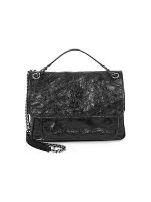 Niki Medium Monogram Ysl Shiny Waxy Quilted Shoulder Bag, Noir