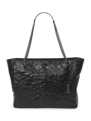 Large Niki Calfskin Leather Shopper - Grey in Black