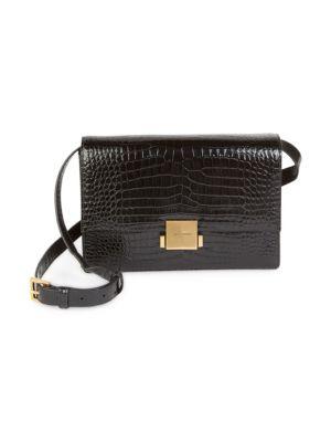 Medium Bellechasse Croc Embossed Leather Shoulder Bag - Black in Noir