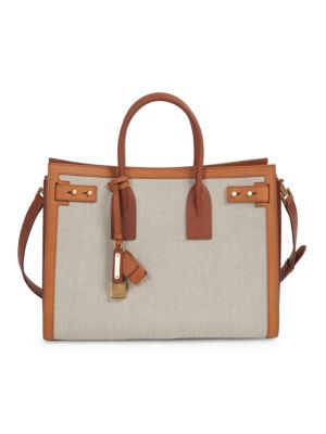 Small Canvas & Leather Sac De Jour - Brown