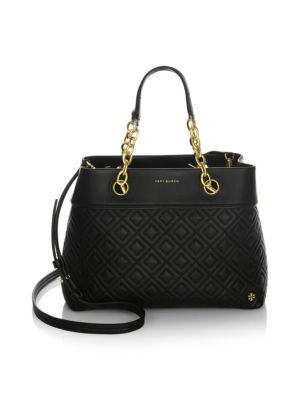 """Fleming Small Tote"" Handbag In Black Color Leather"