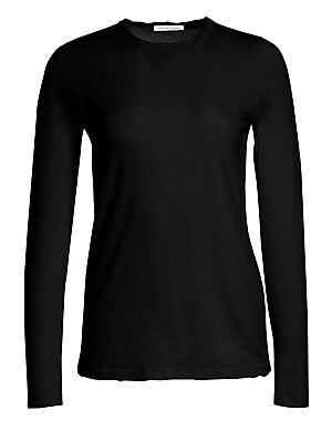"""Image of Classic crewneck knit from light cotton Crewneck Long sleeves About 24"""" from shoulder to hem Cotton Machine wash Made in USA Model shown is 5'10"""" (177cm) wearing size Small. Contemporary Sp - Casual Separates. Cotton Citizen. Color: Bone. Size: Small."""