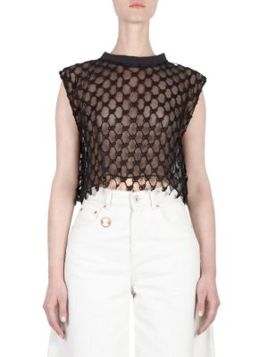 Sleeveless Crochet-Lace Cropped Gym Tank, Black