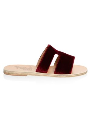 Ancient Greek Sandals  Apteros Velvet Slide Sandals